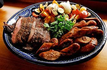Mixed Grill with Shrimp Served with  Grilled Vegetables